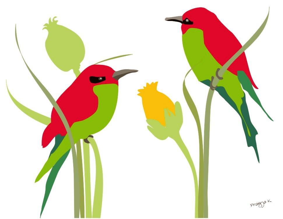 green red bright birds on flowers