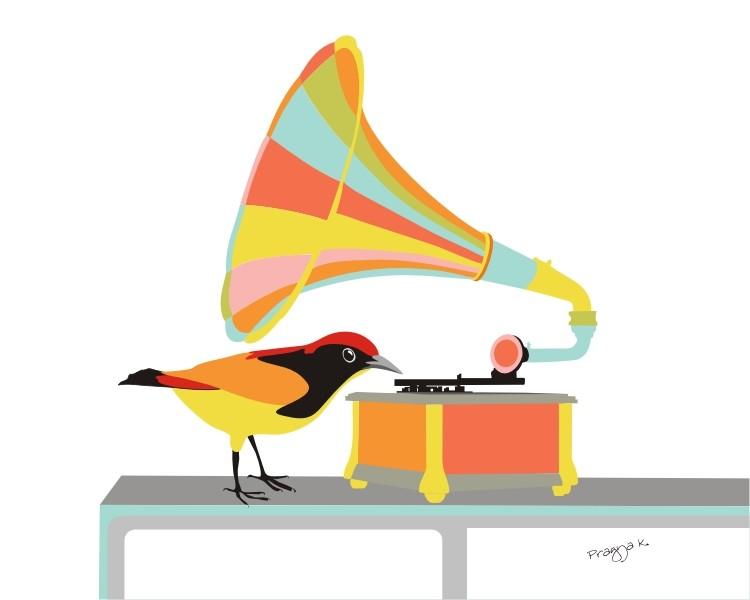 bright pastel colours bird gramaphone