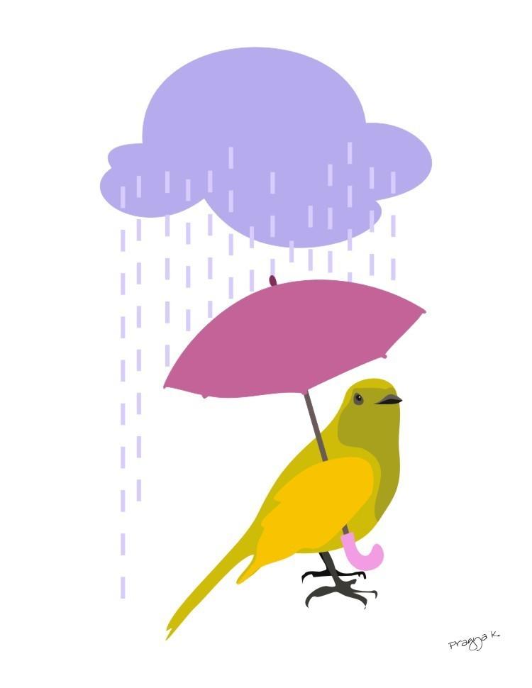 bright bird holding an umbrella and a cloud