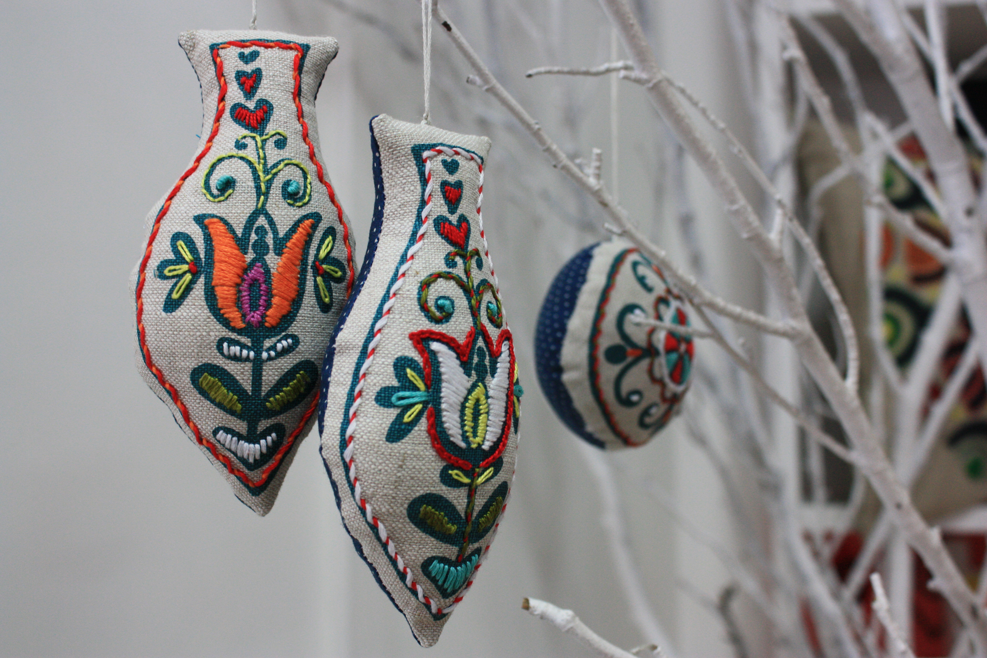 embroidered christmas decorations from prints charming love - Embroidered Christmas Ornaments