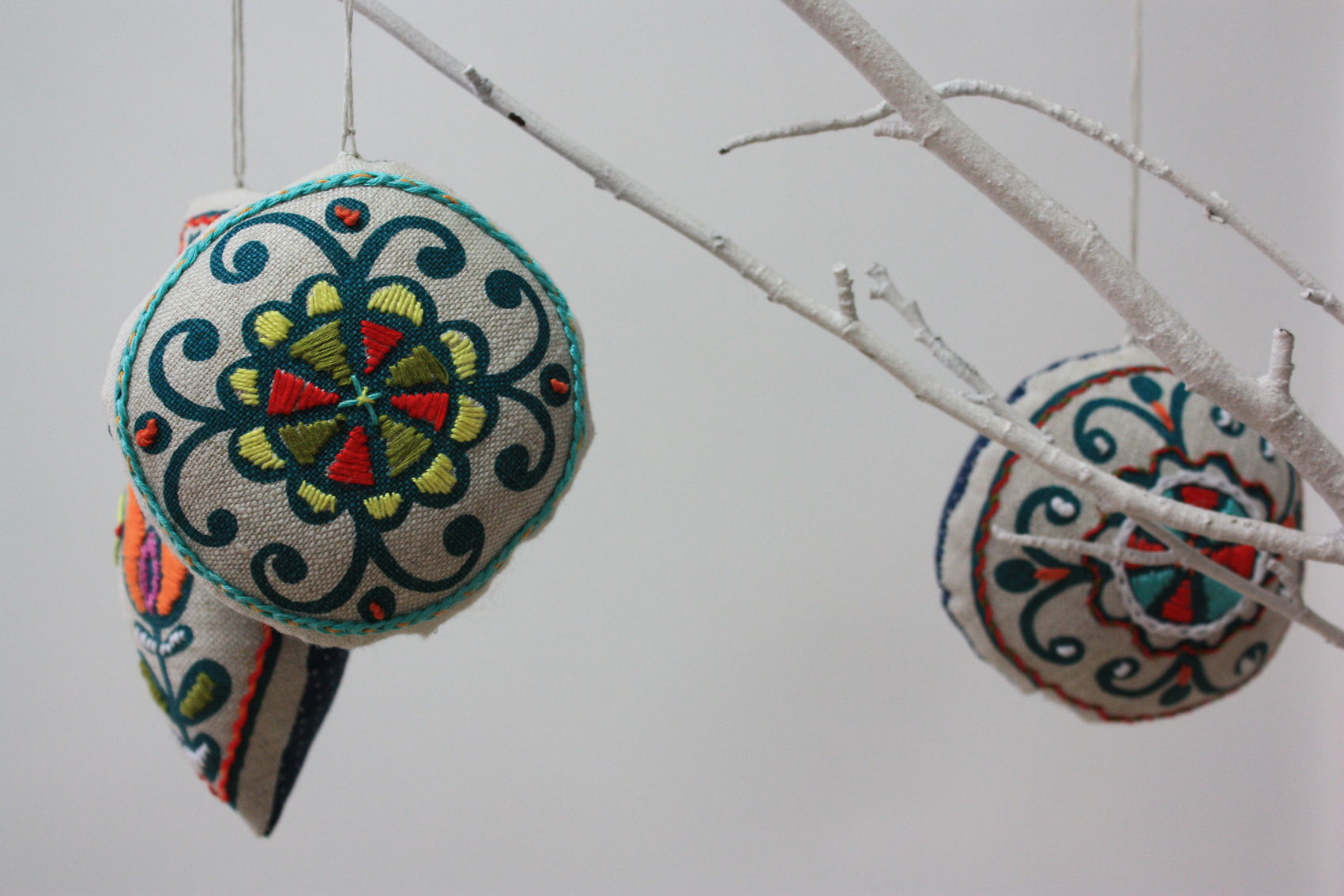 Embroidered christmas ornaments - Embroidered Christmas Decorations From Prints Charming