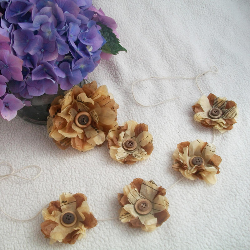 recycling paper and sewing pattern paper flower tutorial