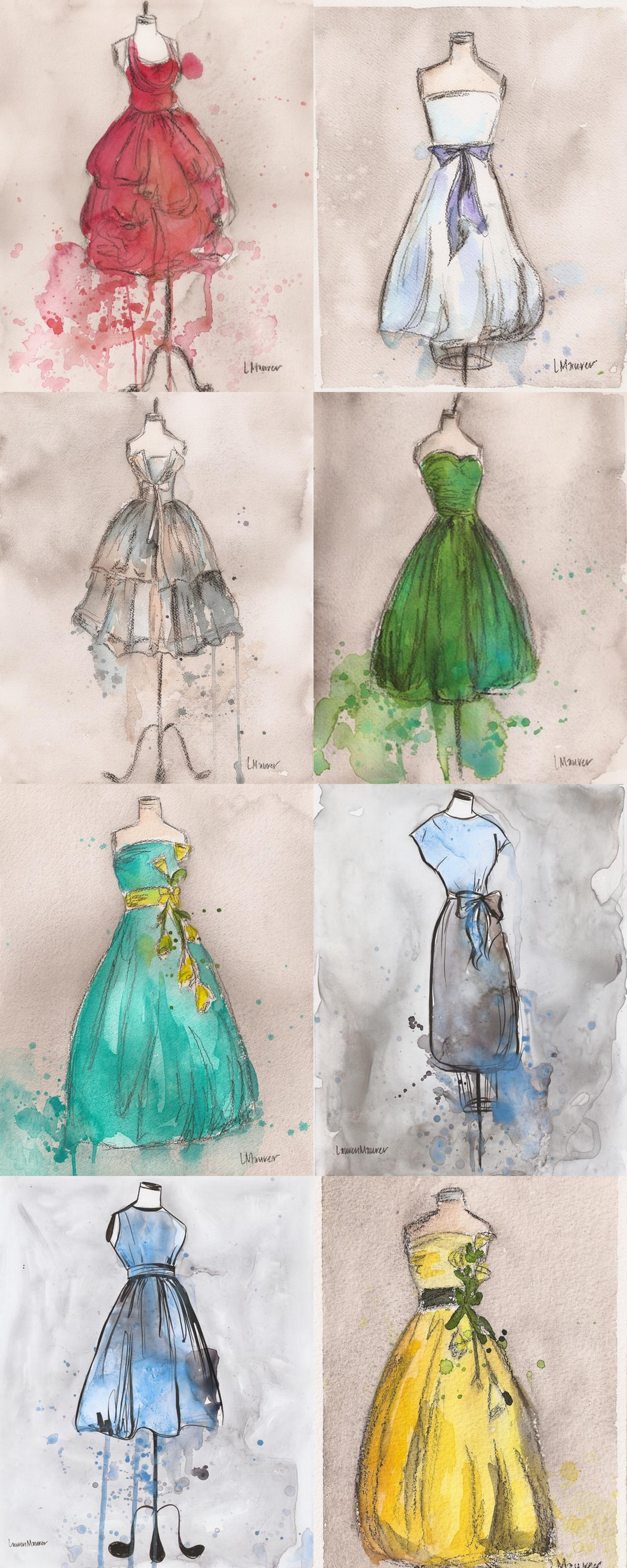 art lauren maurer watercolour vintage dresses