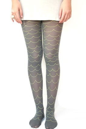 wave tights - grey/gray and white