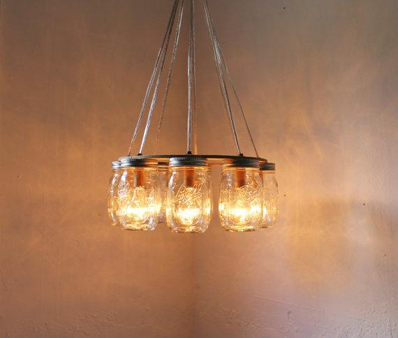 Mason Jar Chandelier: Upcycled Mason Jar Lights From Boots N Gus