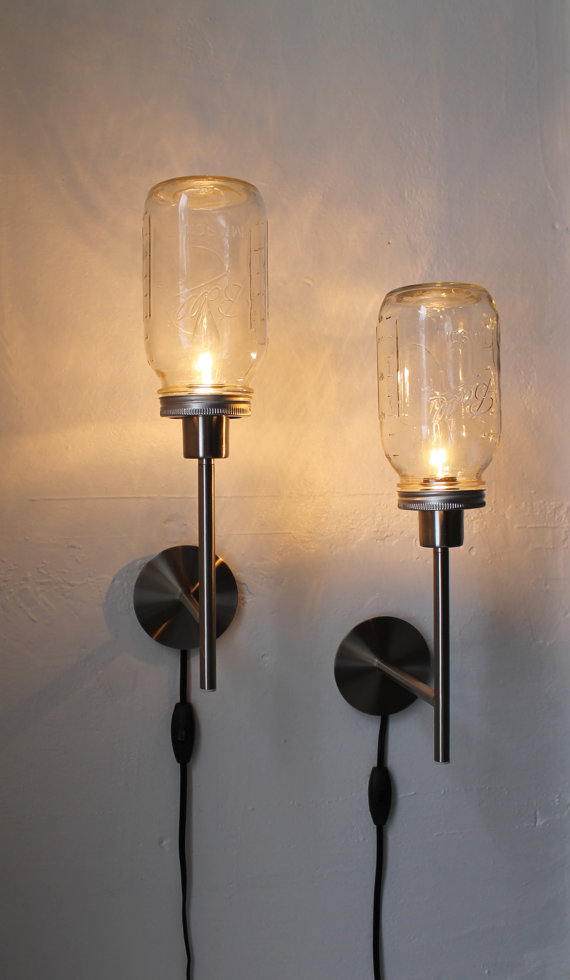 Upcycled mason jar lights from boots n gus