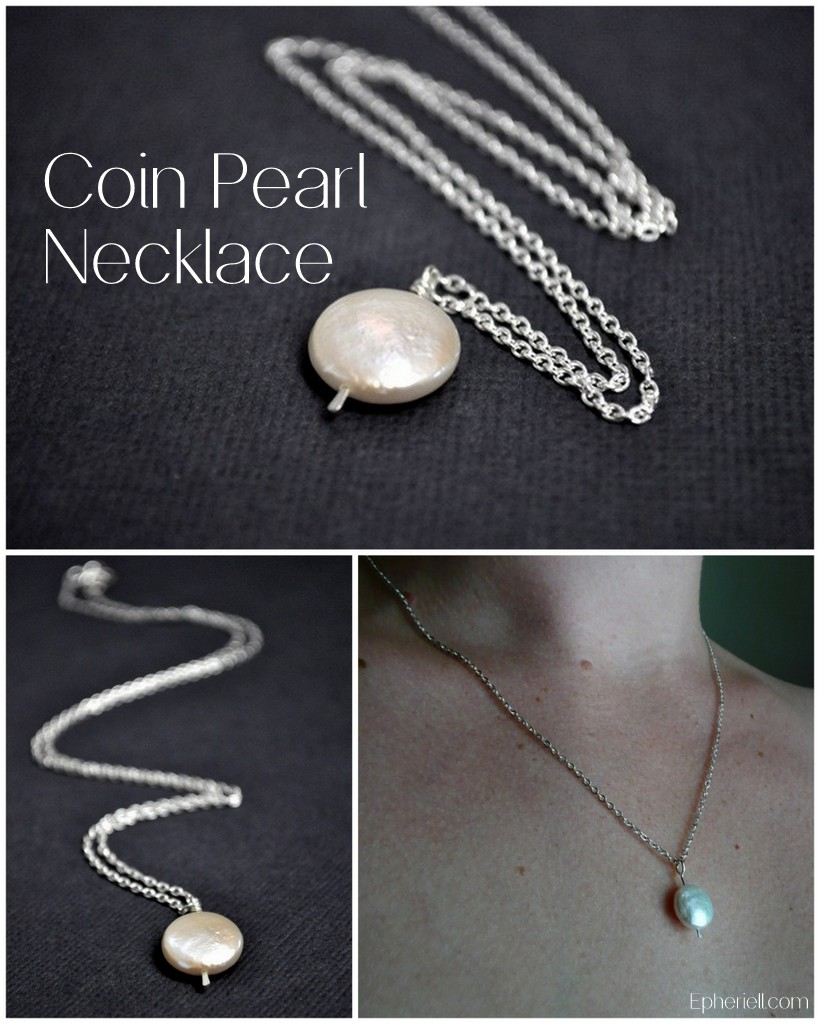 Single White Coin Pearl Necklace by Epheriell