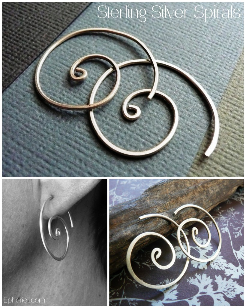 Sterling Silver Spirals Earrings by Epheriell
