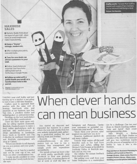 Create and Thrive mention in Sunday Mail Handmade Feb 20123 2