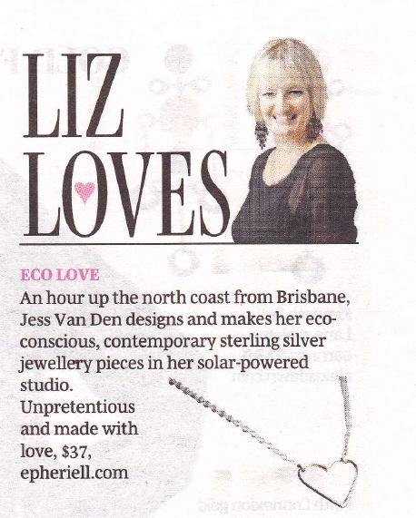 Epheriell mention in the Liz Loves column in U on Sunday