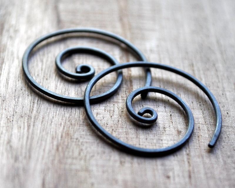 Spiral Oxidised Urban Eco Earrings (6)