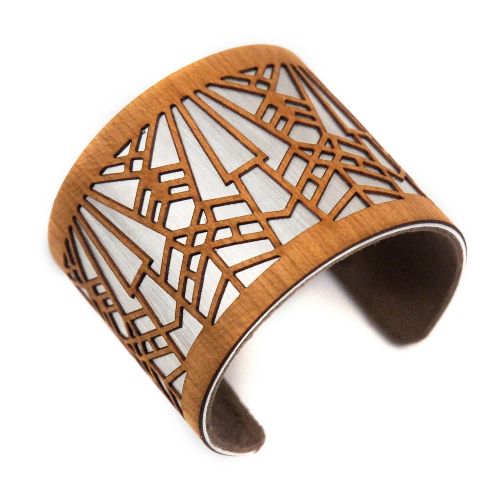 laser cut wood jewelry cuff bracelet art deco metropolis 1